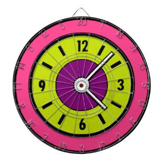 What Time Is It Neon Pink Green Purple Clock Dart Board