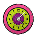 What Time Is It Neon Pink Green Purple Clock Dartboards