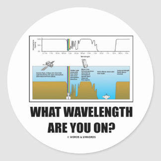 What Wavelength Are You On? (Electromagnetism) Classic Round Sticker