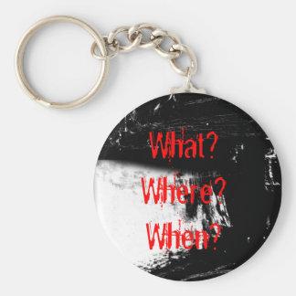 What? Where? When? Basic Round Button Keychain