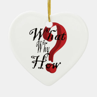 what why how Question Mark Double-Sided Heart Ceramic Christmas Ornament