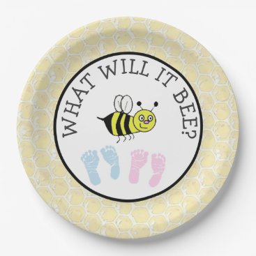 Beach Themed What will it Bee Baby Shower Bumble Paper Plates
