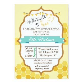 What will it Bee Gender Reveal Baby Shower 5x7 Paper Invitation Card