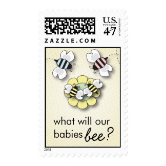 What Will the Babies BEE? Twins Gender Surprise Postage