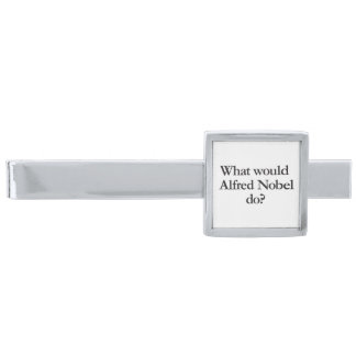 what would alfred nobel do silver finish tie bar