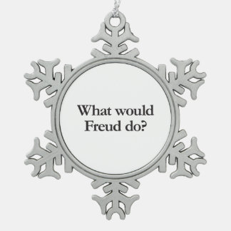 what would freud do snowflake pewter christmas ornament