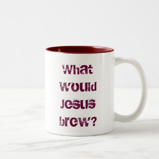 What would Jesus brew? dark red Two-Tone Coffee Mug