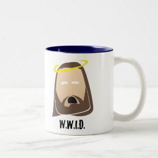 what would jesus do Two-Tone coffee mug