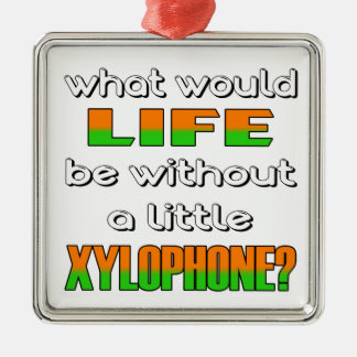 What would life be without a little Xylophone ? Square Metal Christmas Ornament