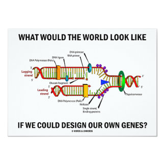 """What Would The World Look Like Design Our Genes? 4.5"""" X 6.25"""" Invitation Card"""