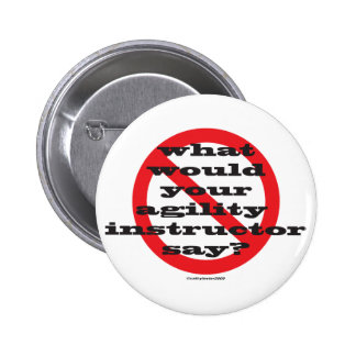 What would your agility instructor say? pinback button