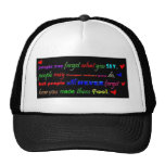 what you do say feel colourful comments motto wisd mesh hats