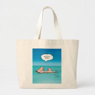 Whatcha Doing? Funny Shipwreck Cartoon Large Tote Bag