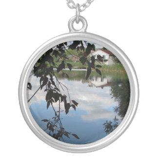 Whatcom Creek Waterway Round Pendant Necklace