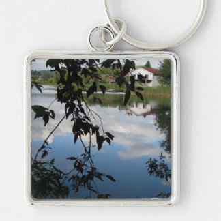 Whatcom Creek Waterway Silver-Colored Square Keychain