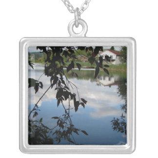 Whatcom Creek Waterway Square Pendant Necklace