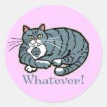 Whatever Cat Round Sticker
