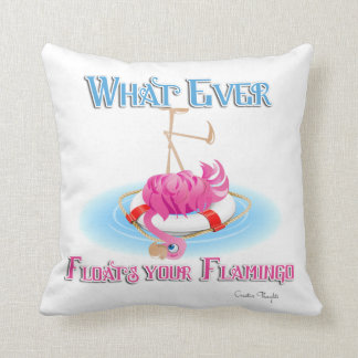 Whatever Floats Your Flamingo Throw Pillow