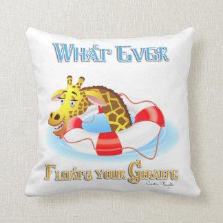 Whatever Floats Your Giraffe 2 Throw Pillow