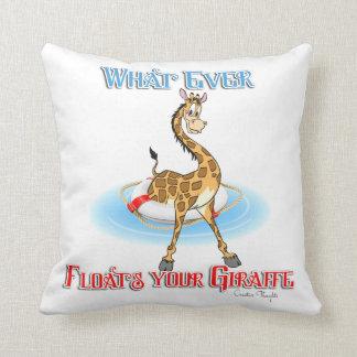 Whatever Floats Your Giraffe Throw Pillow
