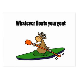 Whatever Floats your Goat Kayaking Cartoon Postcard