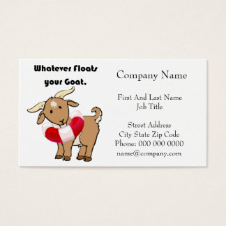 Whatever Floats your Goat Life Preserver Cartoon Business Card