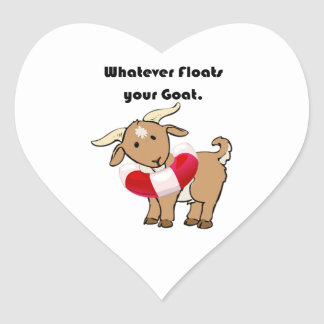 Whatever Floats your Goat Life Preserver Cartoon Heart Sticker