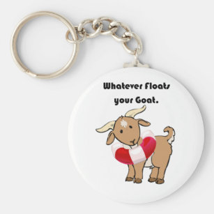 e5e59ce0fc8 Whatever Floats your Goat Life Preserver Cartoon Keychain
