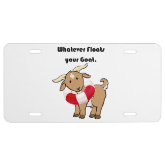 Whatever Floats your Goat Life Preserver Cartoon License Plate