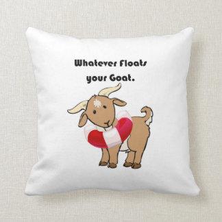 Whatever Floats your Goat Life Preserver Cartoon Throw Pillow