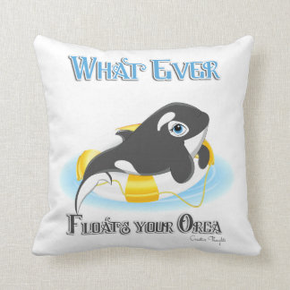 Whatever Floats Your Orca Whale Throw Pillow