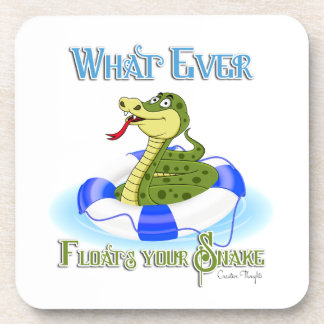 Whatever Floats your Snake Beverage Coasters