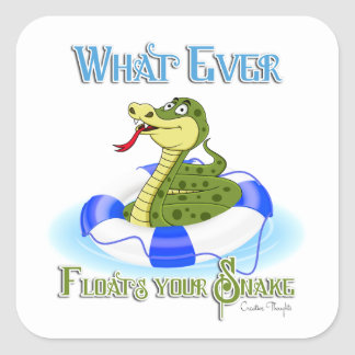 Whatever Floats your Snake Square Sticker