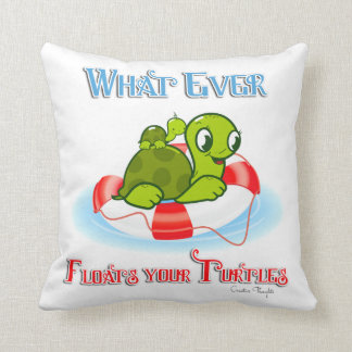 Whatever Floats Your Turtles 2 Throw Pillow