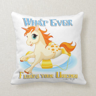 Whatever Floats Your Unicorn Throw Pillow