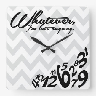 whatever - gray and white chevron square wall clock