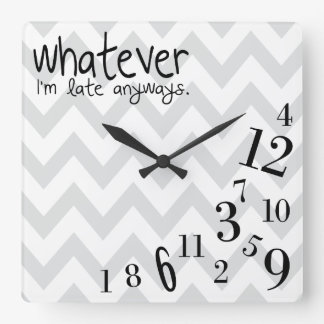 whatever - gray and white chevron square wall clocks