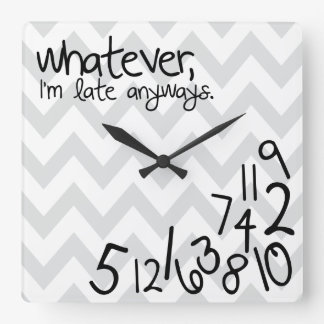 whatever - gray and white chevron square wall clock