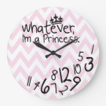 Whatever, I'm a Princess - pink and white chevron Clock
