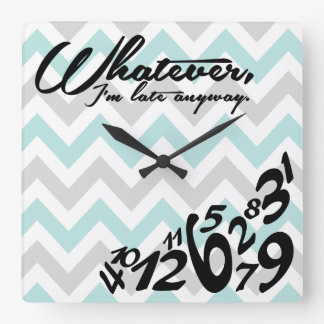 whatever, I'm late anyway - blue & gray chevron Wall Clock