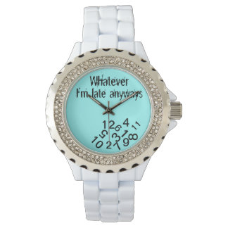 Whatever im late anyway falling numbers wristwatch
