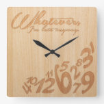 Whatever, I'm late anyway - Faux Engrave Wood Look Square Wall Clock