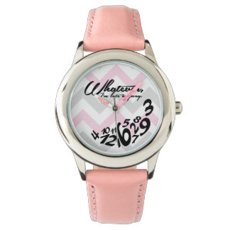 whatever, I'm late anyway - pink and gray chevron Wristwatch
