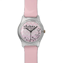 Whatever, I'm late anyway - Pink Chevron Pattern Wrist Watch