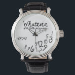 """Whatever, I&#39;m late anyways - eatlovepray logo Wrist Watch<br><div class=""""desc"""">Black and white,  whatever,  I&#39;m late anyways watches!   Funny watches for her. Includes our eatlovepray logo. (can be removed upon request).    Custom design request accepted. Click the &#39;ask the designer link&quot; below.</div>"""