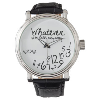 Whatever, I'm late anyways - eatlovepray logo Wrist Watch