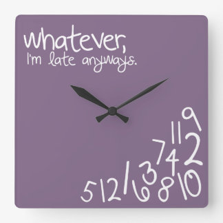 whatever, I'm late anyways - eggplant Square Wall Clocks
