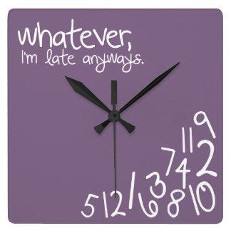 whatever, I'm late anyways - eggplant Square Wall Clocks