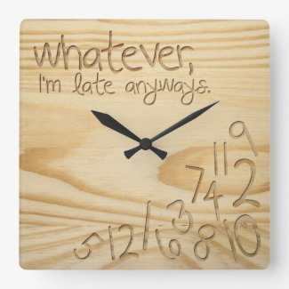 "whatever, I'm late anyways. Engrave Wood ""look"" Wall Clocks"