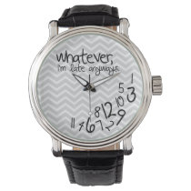 Whatever, I'm late anyways - gray Chevron pattern Wrist Watch